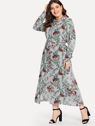 Plus Collar Floral Print Dress
