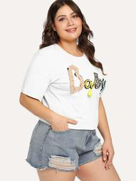Plus Pearl And Tassel Applique Letter Tee