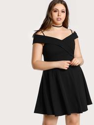 Plus Bardot Sleeve Cross Over Cold Shoulder Dress BLACK