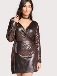 Plus Metallic Long Sleeve Dress PURPLE