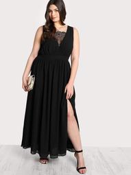 Plus Front Lace Cutout Dress BLACK