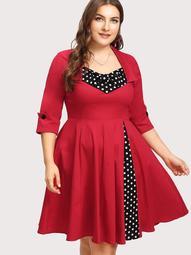 Plus Contrast Spot Circle Dress