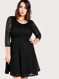 Plus Sheer Lace A Line Dress BLACK
