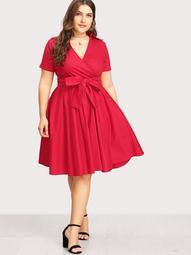 Plus Surplice Neckline Self Tie Circle Dress
