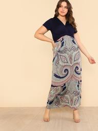 Plus Boho Print Short Sleeve Surplice Neckline Dress NAVY