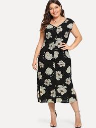 Plus V Neckline Floral Print Dress