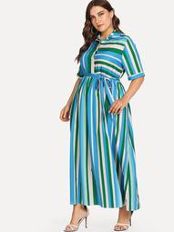 Plus Self Tie Waist Random Striped Dress
