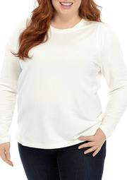 Plus Size Puff Crew Neck Shirt