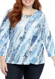 Plus Size Pearls of Wisdom Lace Diagonal Knit Top