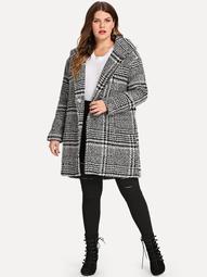 Dual Pocket Tartan Plaid Hooded Coat
