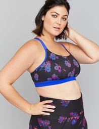 LIVI Active Low-Impact Wicking Sport Bra - Reversible Purple Floral