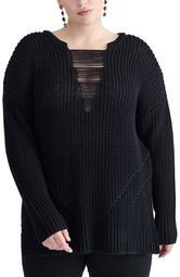Rina Distressed Detail Shaker Sweater