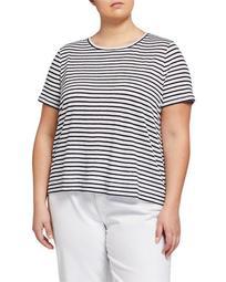 Plus Size Striped Organic Linen Jersey Cap-Sleeve Tee