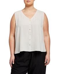Plus Size V-Neck Button-Front Sleeveless Silk Georgette Crepe Top