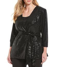 Plus Size 3/4 Sleeve Allover Sequin Collarless Wrap Jacket