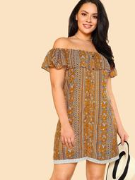 Plus Mixed Print Floral Off Shoulder Dress with Buttons MUSTARD