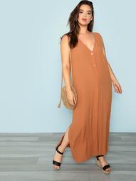 Button Front Sleeveless Dress
