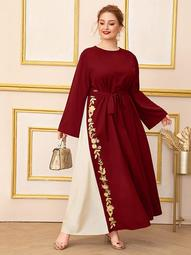 Plus Embroidered Applique Two Tone Self Belted Maxi Dress