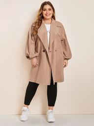 Plus Notch Collar Lantern Sleeve Coat