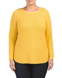 Plus Sweater With Button Shoulder Detail