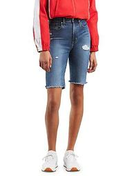 High-Rise Denim Bike Shorts