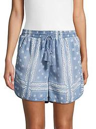 Bandana-Print Drawstring Shorts