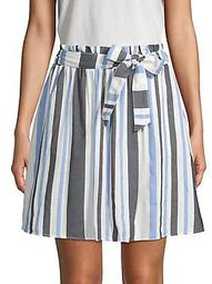Stripe-Print Mini Skirt