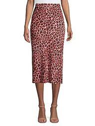 Slim-Fit Leopard-Print Flounce Midi Skirt