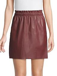 Ruffle Faux Leather Skirt