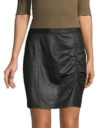 Ruched Faux Leather Mini Skirt