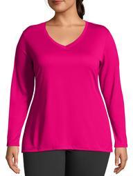 Women's Plus Active Long Sleeve Cool Dri V-Neck Tee