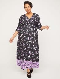 Lilac Garden Faux-Wrap Maxi Dress