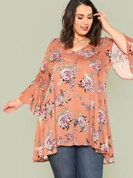 Plus Flared Bell Sleeve Floral Print Top MAUVE