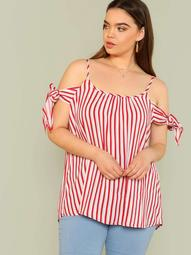 Plus Cold Shoulder Striped Top with Tie Sleeves RED WHITE