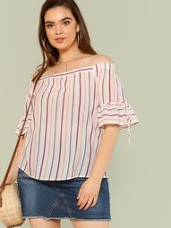 Plus Striped Bardot Top with Tie String Sleeves PINK