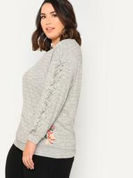 Plus Floral Applique Striped Sweater with Ruffle Trim BLACK IVORY