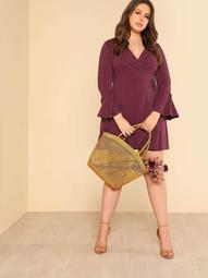 Plus Long Bell Sleeve Modal Cupro Wrap Dress MAUVE