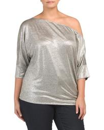 Plus Made In Usa One Shoulder Metallic Top
