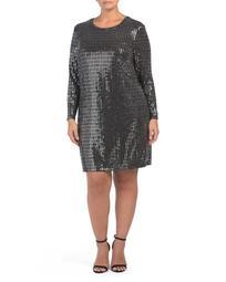 Plus Metallic Long Sleeve Dress