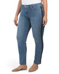 Plus Shaping Stripe Off Skinny Jeans
