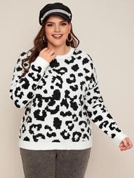 Plus Drop Shoulder Leopard Sweater