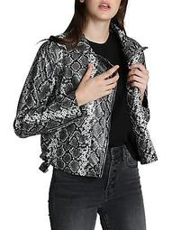 Snakeskin-Print Faux Leather Jacket