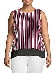 Sleeveless Striped Cutout Top