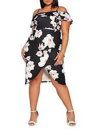 Plus Plus Floral Frill Midi Dress