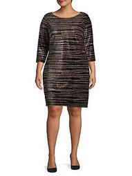Plus Plus Three-Quarter Sleeve Striped Shift Dress