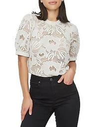 Puff-Sleeve Floral Lace Top
