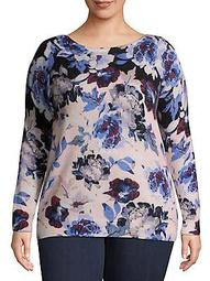 Plus Plus Floral Cashmere Boatneck Sweater