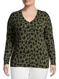 Plus Plus Leopard-Print V-Neck Cashmere Top
