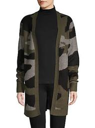 Camouflage-Print Open Cardigan