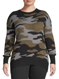 Como Blu Women's Plus Size Printed Sweater